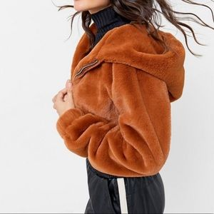 UO Faux Fur Hooded Cropped Jacket